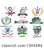 Clipart Of Baseball Darts Bowling Soccer Basketball Ping Pong Ice Hockey Tennis And Billiards Sports Designs With Text Royalty Free Vector Illustration