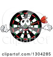 Clipart Of A Cartoon Dart In A Target Character Royalty Free Vector Illustration by Vector Tradition SM