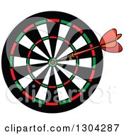 Clipart Of A Cartoon Dart In A Target Royalty Free Vector Illustration by Vector Tradition SM