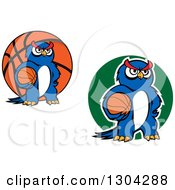 Clipart Of Cartoon Blue Sporty Owls Holding Basketballs Royalty Free Vector Illustration