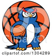 Clipart Of A Cartoon Blue Sporty Owl Holding A Basketball Over A Giant Ball Royalty Free Vector Illustration