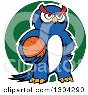 Clipart Of A Cartoon Outlined Blue Sporty Owl Holding A Basketball Over A Green Circle Royalty Free Vector Illustration