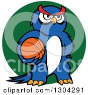 Clipart Of A Cartoon Blue Sporty Owl Holding A Basketball Over A Green Circle Royalty Free Vector Illustration