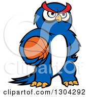 Clipart Of A Cartoon Blue Sporty Owl Holding A Basketball Royalty Free Vector Illustration by Seamartini Graphics