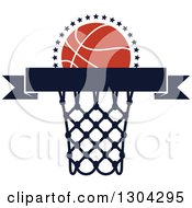 Clipart Of A Blank Banner With An Orange Basketball And Hoop Royalty Free Vector Illustration