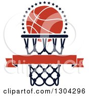 Clipart Of A Blank Banner With An Orange Basketball And Hoop 2 Royalty Free Vector Illustration