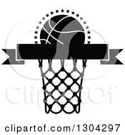 Clipart Of A Black And White Blank Black Banner With A Basketball And Hoop Royalty Free Vector Illustration