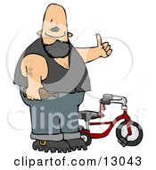 Biker Man With Tattoos Holding A Beer Bottle And Standing By His Tricycle Clipart Illustration