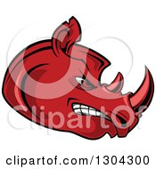 Clipart Of A Cartoon Angry Red Rhinoceros Head In Profile Royalty Free Vector Illustration by Seamartini Graphics