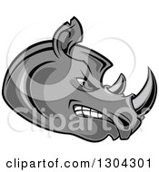 Clipart Of A Cartoon Angry Gray Rhinoceros Head In Profile Royalty Free Vector Illustration by Seamartini Graphics