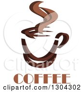 Clipart Of A Brown Steamy Coffee Cup Over Text Royalty Free Vector Illustration