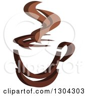 Clipart Of A Brown Steamy Coffee Cup Royalty Free Vector Illustration