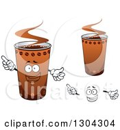 Clipart Of A Face Hands And Take Out Coffee Cups Royalty Free Vector Illustration