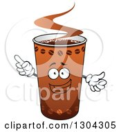 Clipart Of A Happy Take Out Coffee Cup Character Holding Up A Finger Royalty Free Vector Illustration