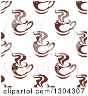 Clipart Of A Seamless Background Pattern Of Steamy Brown Coffee Cups 5 Royalty Free Vector Illustration
