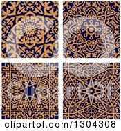 Clipart Of Seamless Orange Arabic Or Islamic Design Backgrounds On Navy Blue Royalty Free Vector Illustration