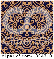 Clipart Of A Seamless Orange Arabic Or Islamic Design Background On Navy Blue 2 Royalty Free Vector Illustration