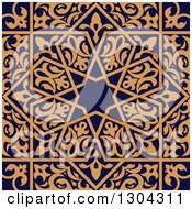 Clipart Of A Seamless Orange Arabic Or Islamic Design Background On Navy Blue 3 Royalty Free Vector Illustration