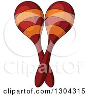 Clipart Of Cartoon Crossed Maracas Royalty Free Vector Illustration by Vector Tradition SM