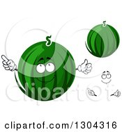 Clipart Of A Cartoon Face Hands And Watermelons Royalty Free Vector Illustration