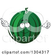 Clipart Of A Watermelon Character Pointing 2 Royalty Free Vector Illustration