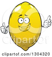 Clipart Of A Happy Lemon Character Holding Up A Finger And Thumb Royalty Free Vector Illustration