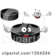 Clipart Of A Cartoon Face Hands And Hockey Pucks Royalty Free Vector Illustration