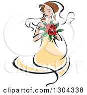 Clipart Of A Retro Sketched Brunette Caucasian Bride In A Yellow Dress Holding A Bouquet Of Red Flowers Royalty Free Vector Illustration by Vector Tradition SM