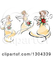 Clipart Of Retro Sketched Caucasians Bride In Yellow Dresses Holding Bouquets Of Red Flowers Royalty Free Vector Illustration