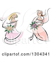 Clipart Of Retro Sketched Caucasian Brides In Pink Dresses Holding Bouquets Of Flowers Royalty Free Vector Illustration