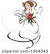 Clipart Of A Retro Sketched Brunette Caucasian Bride With A Bouquet Of Pink Flowers Royalty Free Vector Illustration