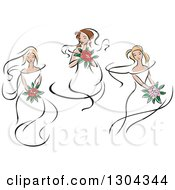 Clipart Of Retro Sketched Caucasian Brides With Bouquets Of Flowers Royalty Free Vector Illustration