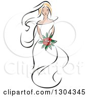 Clipart Of A Retro Sketched Blond Caucasian Bride With A Bouquet Of Red Flowers Royalty Free Vector Illustration by Vector Tradition SM