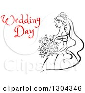 Clipart Of A Sketched Black And White Bride Holding A Bouquet Of Flowers With Red Text 10 Royalty Free Vector Illustration by Vector Tradition SM