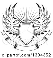 Clipart Of A Black And White Winged Shield Over A Burst Royalty Free Vector Illustration
