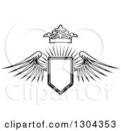 Clipart Of A Black And White Winged Shield And Crown Over A Burst Royalty Free Vector Illustration