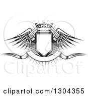 Clipart Of A Black And White Winged Shield Black Banner And Crown Over A Burst Royalty Free Vector Illustration by Vector Tradition SM