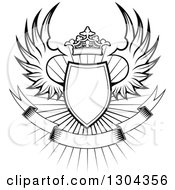 Clipart Of A Black And White Winged Shield Black Banner And Crown Over A Burst 2 Royalty Free Vector Illustration