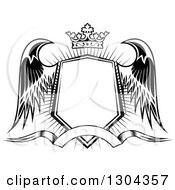 Clipart Of A Black And White Winged Shield Black Banner And Crown Over A Burst 3 Royalty Free Vector Illustration