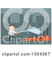 Clipart Of A Flat Modern White Businessman Extinguising A Bar Graph Over Blue Royalty Free Vector Illustration by Vector Tradition SM
