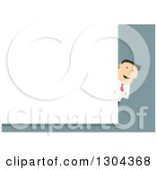 Flat Modern White Businessman Pointing Around A Blank Sign Over Blue