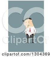 Clipart Of A Flat Modern White Businessman Struggling To Put On His Skinny Pants Over Blue Royalty Free Vector Illustration