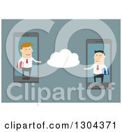 Clipart Of Flat Modern White Businessmen Communicating On The Cloud Via Cell Phones Over Blue Royalty Free Vector Illustration