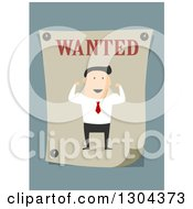 Clipart Of A Flat Modern White Businessman Flexing On A Wanted Poster Over Blue Royalty Free Vector Illustration by Vector Tradition SM