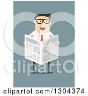 Clipart Of A Flat Modern White Businessman Wearing Glasses And Reading A Newspaper Over Blue Royalty Free Vector Illustration by Vector Tradition SM
