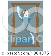 Clipart Of A Flat Modern White Businessman Stuck Inside An Hourglass Over Blue Royalty Free Vector Illustration by Vector Tradition SM