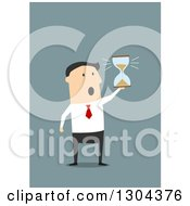 Clipart Of A Flat Modern White Businessman Running Out Of Time And Holding An Hourglass Over Blue Royalty Free Vector Illustration by Vector Tradition SM