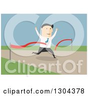 Clipart Of A Flat Modern White Businessman Breaking Through A Finish Line Over Blue Royalty Free Vector Illustration
