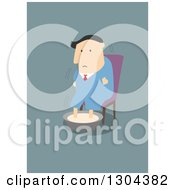 Clipart Of A Flat Modern White Businessman Shivering And Soaking His Feet Over Blue Royalty Free Vector Illustration