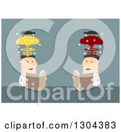 Clipart Of Flat Modern White Businessmen Reading A Mind Blowing Article Over Blue Royalty Free Vector Illustration